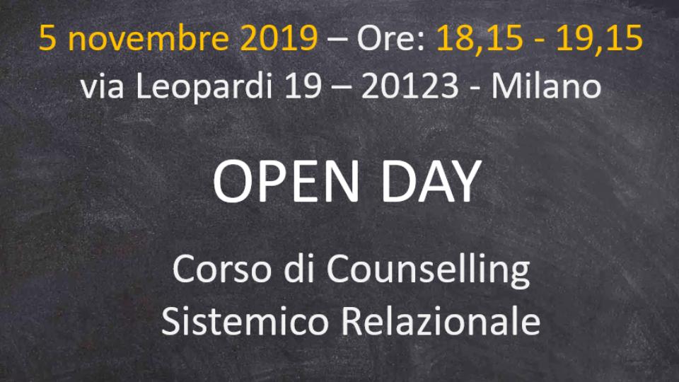 Open Day Corso Counseling sistemico relazionale 2019
