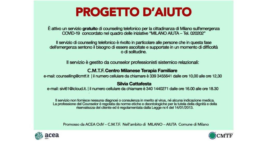 Comune Milano Locandina Counseling COVID-19
